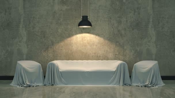 sofá de cuero en cuarto oscuro — Vídeo de stock © lchumpitaz #151805760
