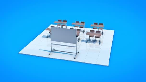 Klassenzimmer. 3D-Rendering