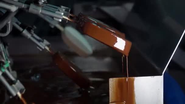 Zmrzlina na klacku je pokrytá čokoládovou polevou. Čokoládový lískový zmrzlinový nanuk při výrobě. Výrobní linka zmrzliny