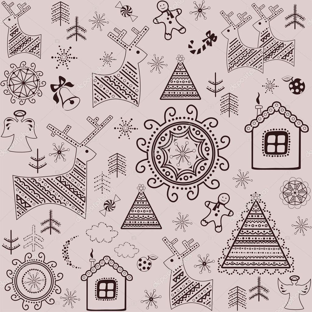 Fondos dulces de invierno con renos, pino, árbol de Navidad, pan de ...