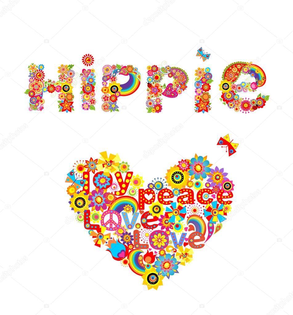 Imprime Colore Fleur Hippie Lettrage Et Coeur De Fleur Forme Isole