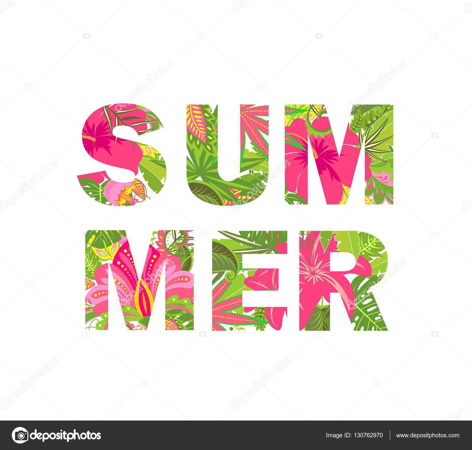 Letras Tropicales Camisa De Impresion Con Hojas Tropicales Y