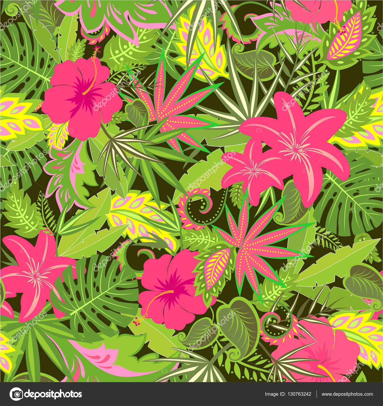 Tropical Wallpaper With Exotic Leaves And Flowers Stock Vector