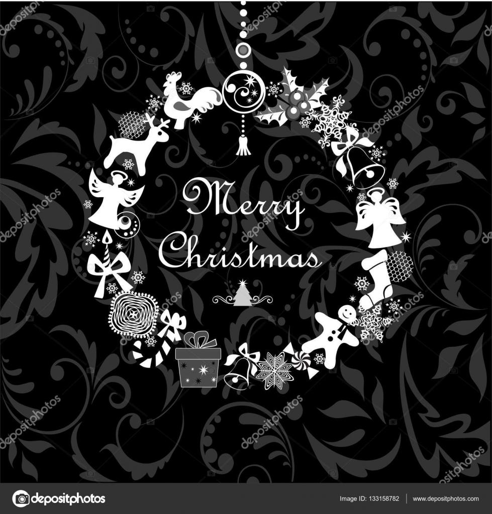 ÁŠã‹ã—いクリスマスの花輪を持つ黒と白のグリーティング «ード ¹トックベクター C Antonovaolena 133158782