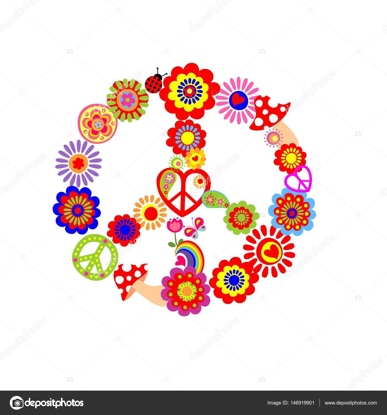 Childish Print With Peace Flower Symbol Stock Vector