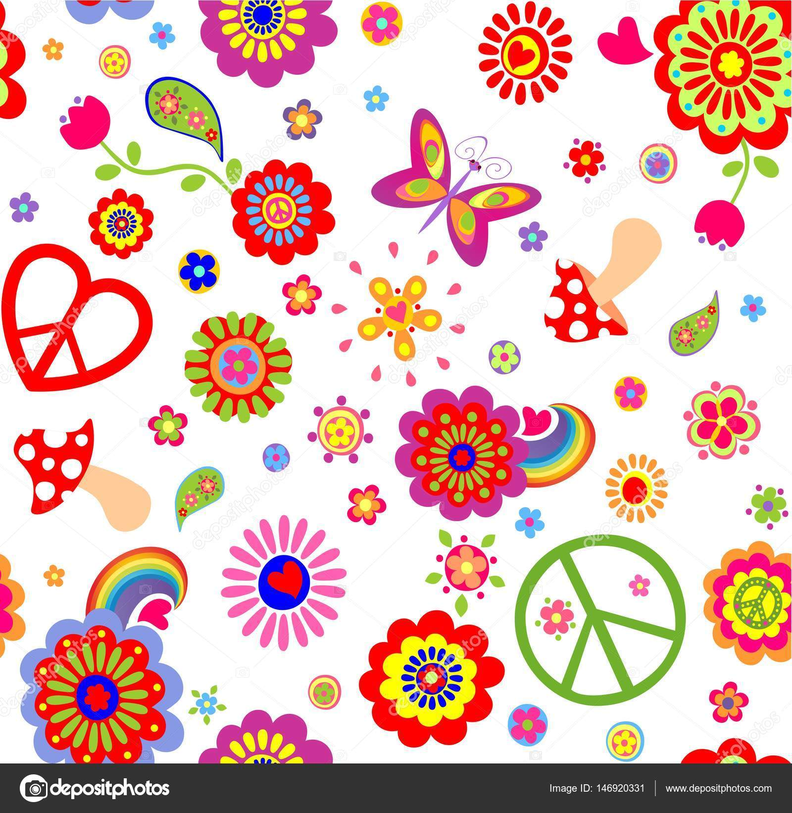 Hippie childish funny wallpaper with abstract flowers for Papel pintado infantil barato
