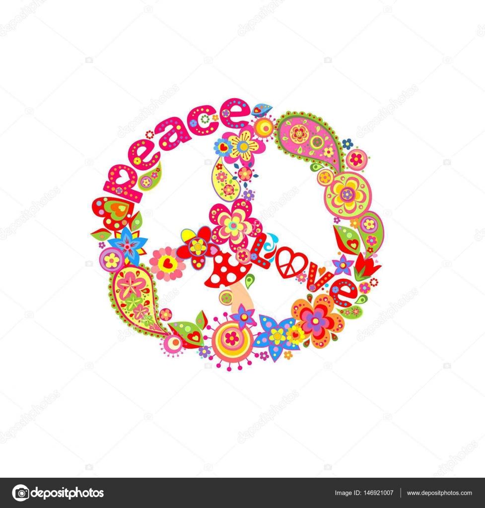 Decorative Peace Flower Symbol Stock Vector Antonovaolena 146921007