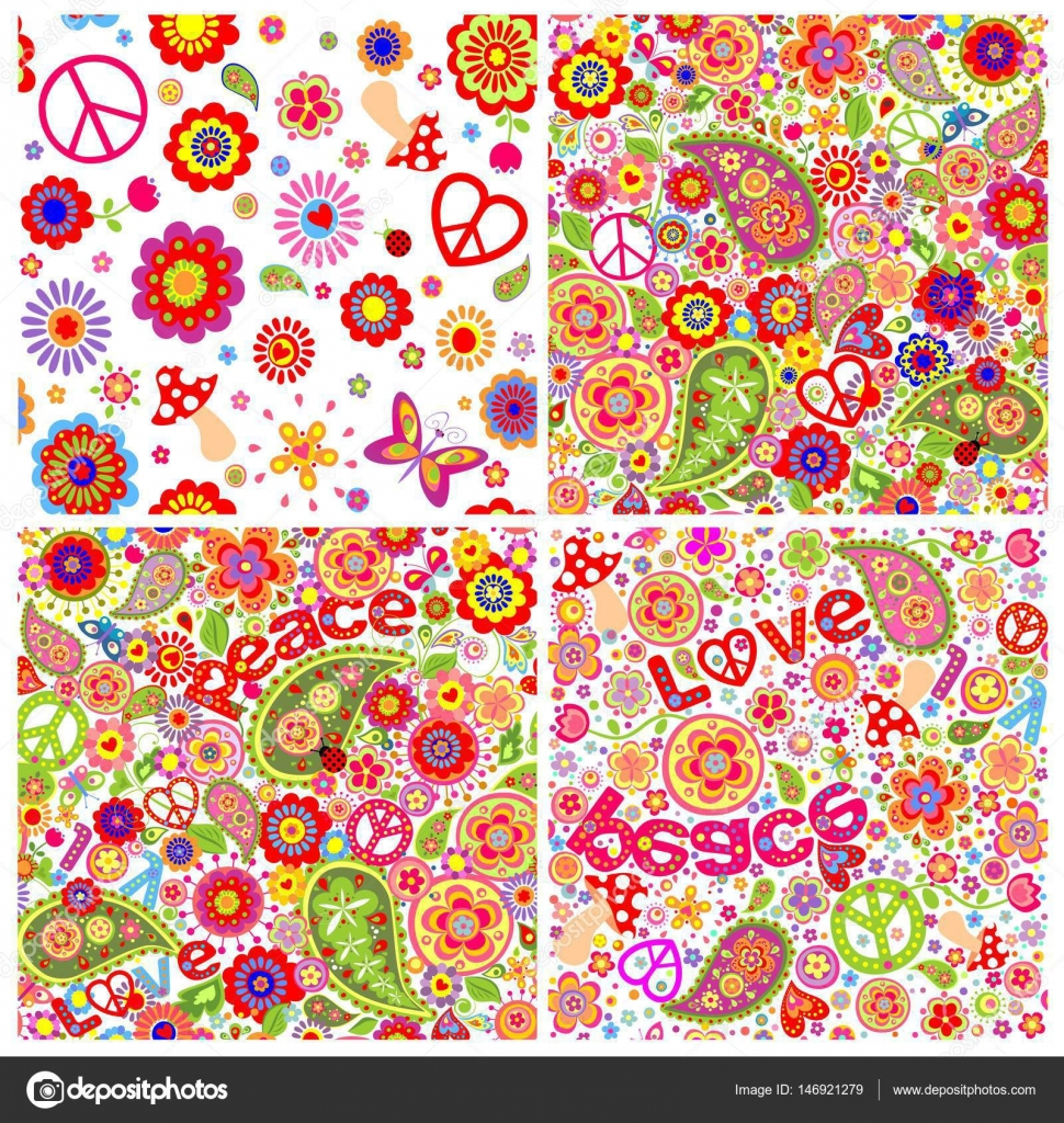 Collection of childish funny colorful hippie wallpapers– stock illustration