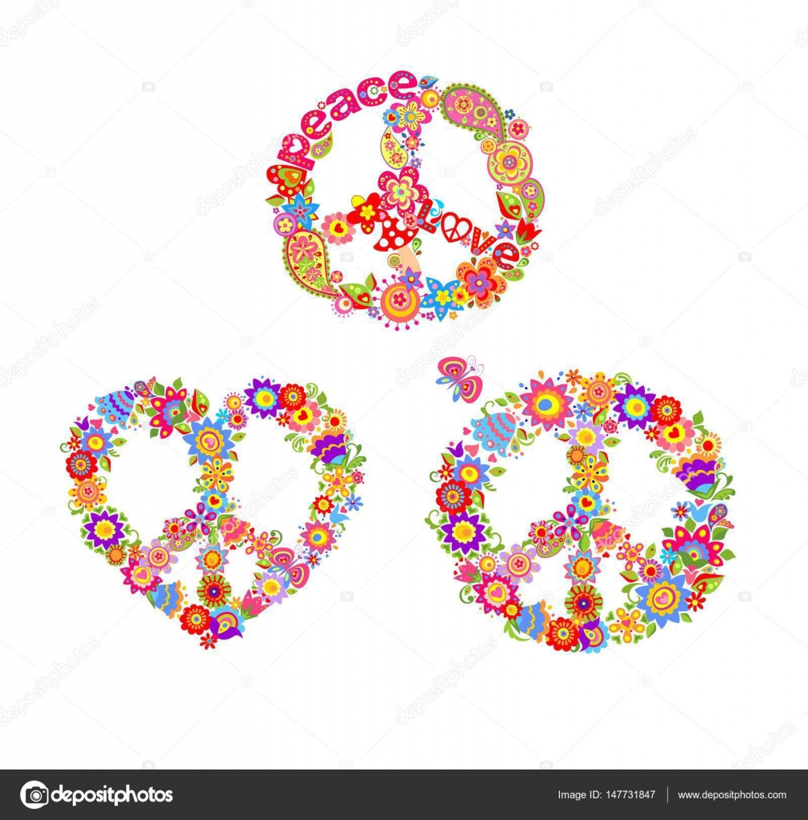 Decorative hippie prints with peace flower symbols stock vector decorative hippie prints with peace flower symbols stock vector biocorpaavc Images