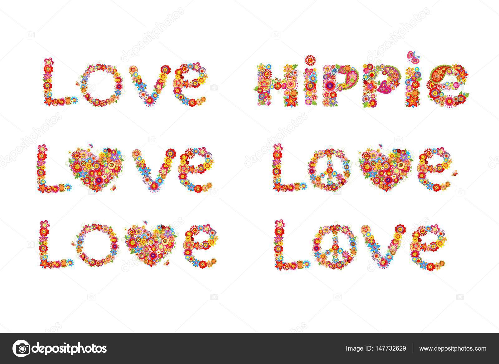 Flowers print with peace flower symbol love and hippie word flowers print with peace flower symbol love and hippie word stock vector biocorpaavc Choice Image