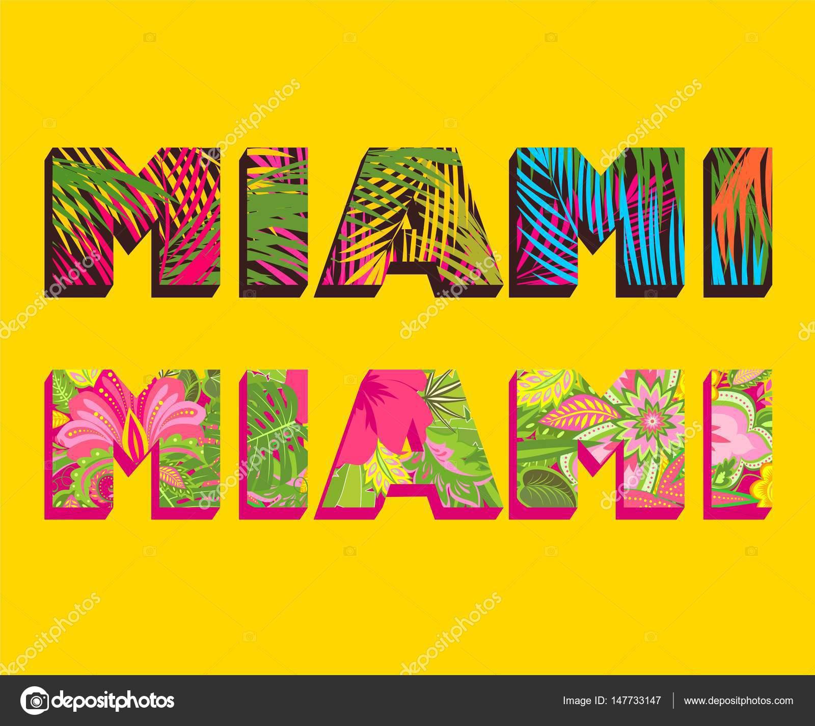 T-Shirt Druck mit Miami Schriftzug mit Palmblättern und exotische ...