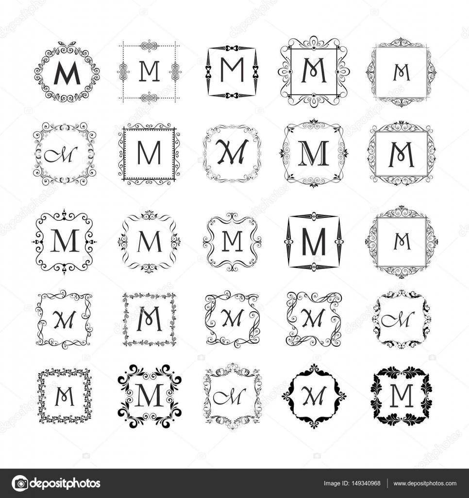 Colección de Marcos vintage de monograma, diseño boda, carta ...