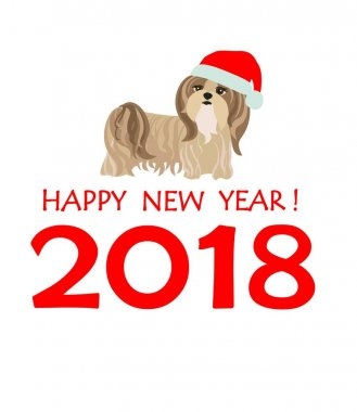 Greeting card with puppy of Yorkshire terrier for Chinese New year 2018