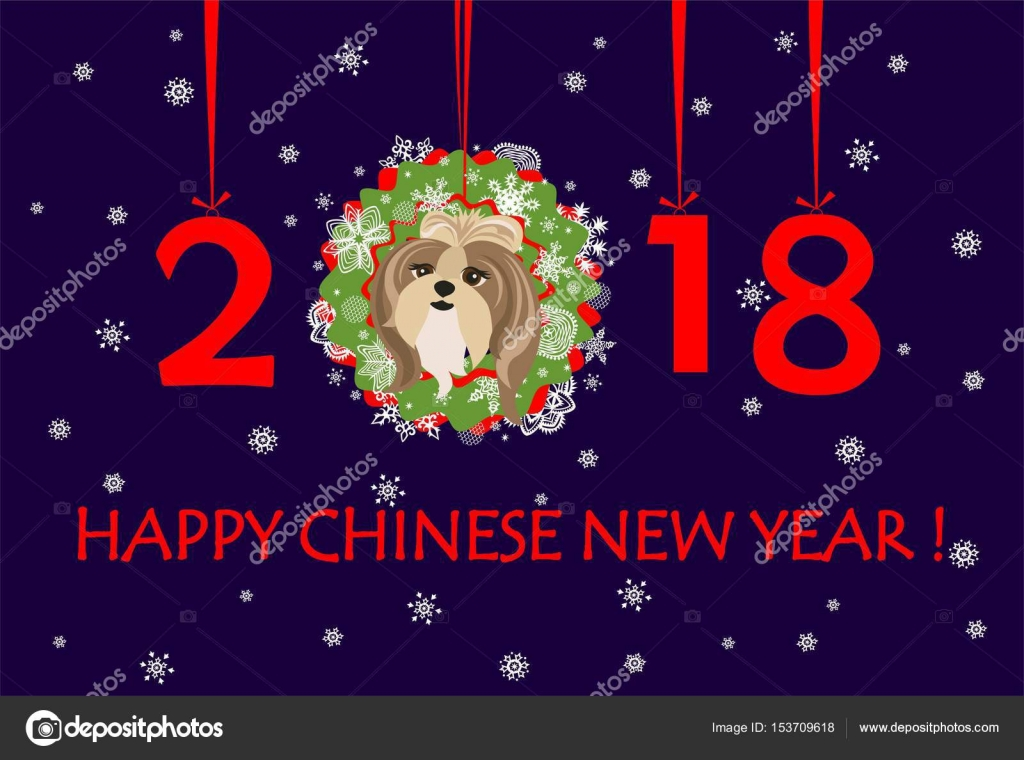 Happy New Year 2018 Greeting Banner With Hanging Xmas Paper Wreath, Numbers  And Funny Puppy