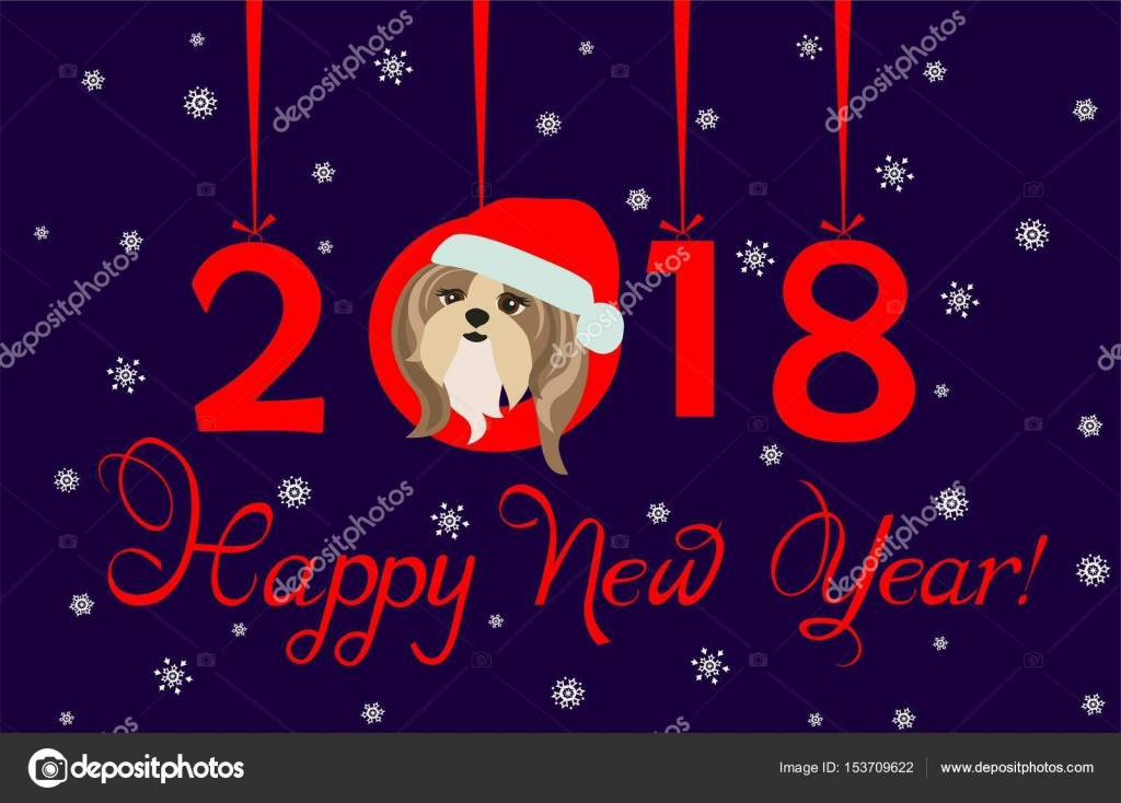 Charming Happy New Year 2018 Greeting Banner With Hanging Xmas Paper Numbers And  Funny Puppy U2014 Stock