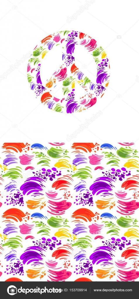Símbolo de paz hippie con estampado de colores salpicado y fondos de ...