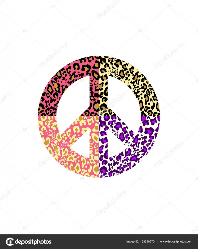 Peace symbol with leopard print isolated on white background peace symbol with leopard print isolated on white background fashion design for t shirt biocorpaavc Images