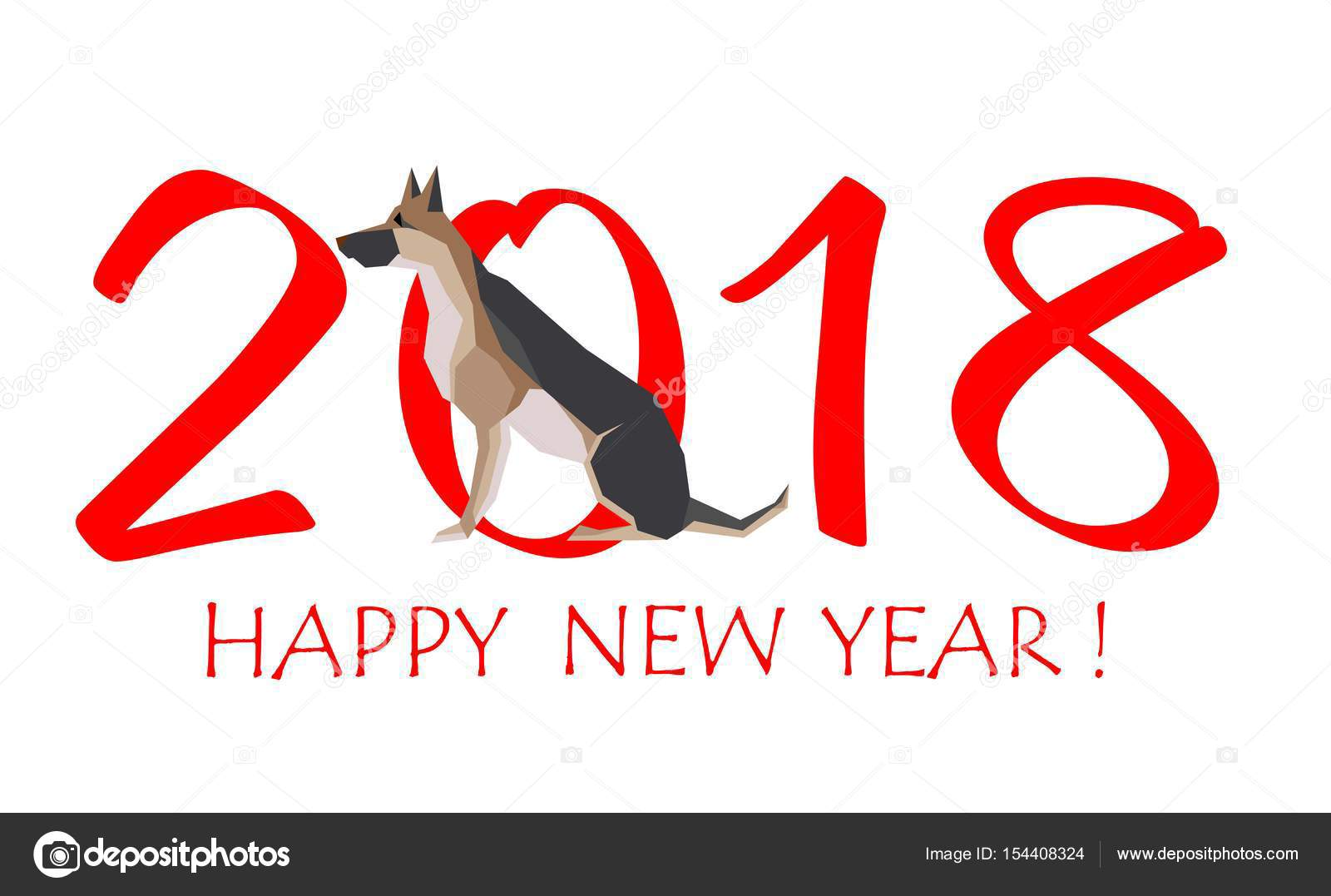 Greeting card for new year 2018 with sitting dog german shepherd greeting card for new year 2018 with sitting dog german shepherd stock vector m4hsunfo