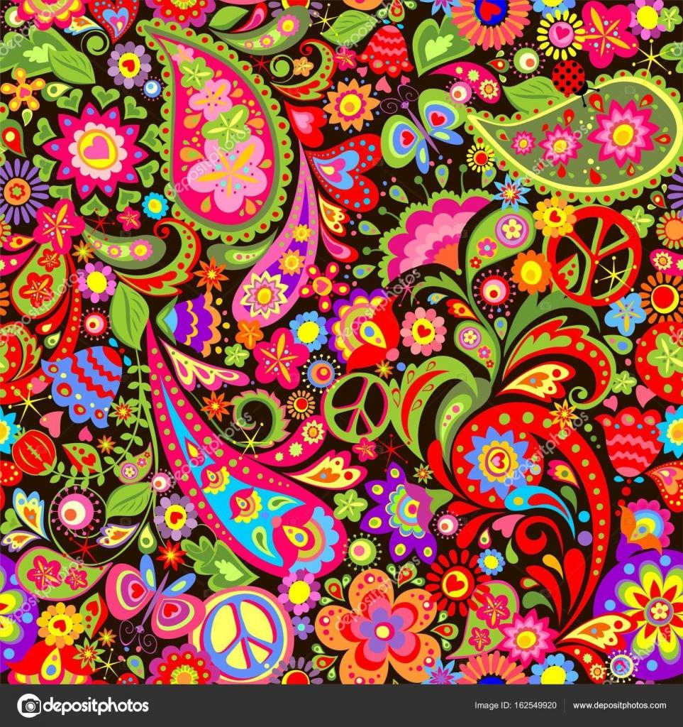 Hippie vivid decorative wallpaper with colorful flowers, hippie ...