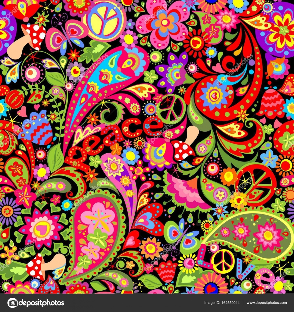 hippie vivid wallpaper with colorful abstract flowers, hippie peace