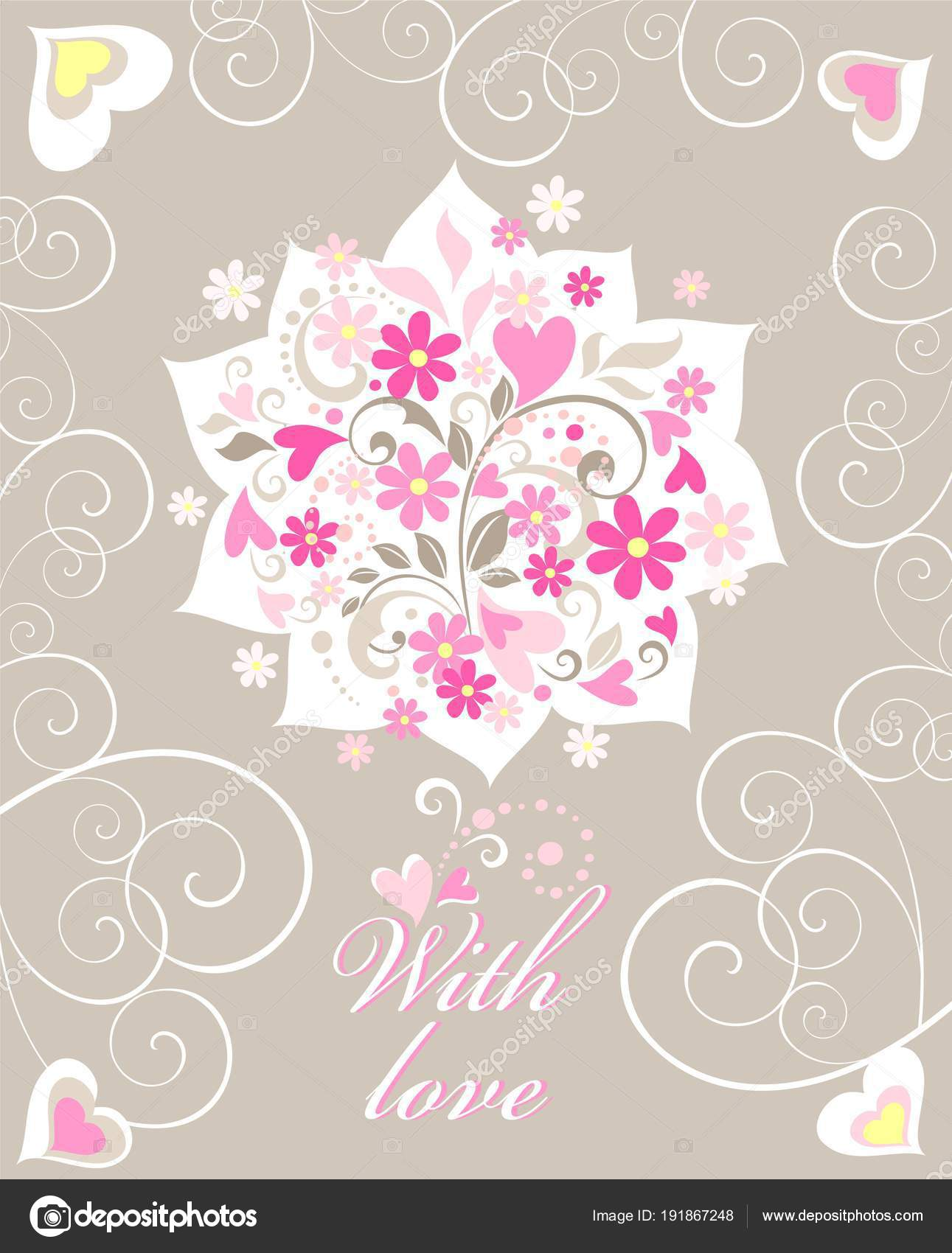 Beautiful flat greeting card hand made applique paper bouquet pink beautiful flat greeting card hand made applique paper bouquet pink stock vector m4hsunfo