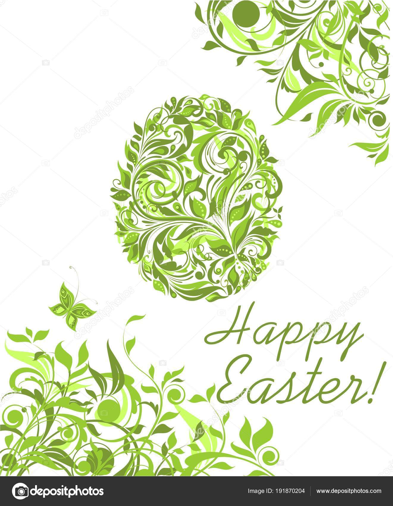 Easter Greeting Green Card Floral Egg Shape Stock Vector