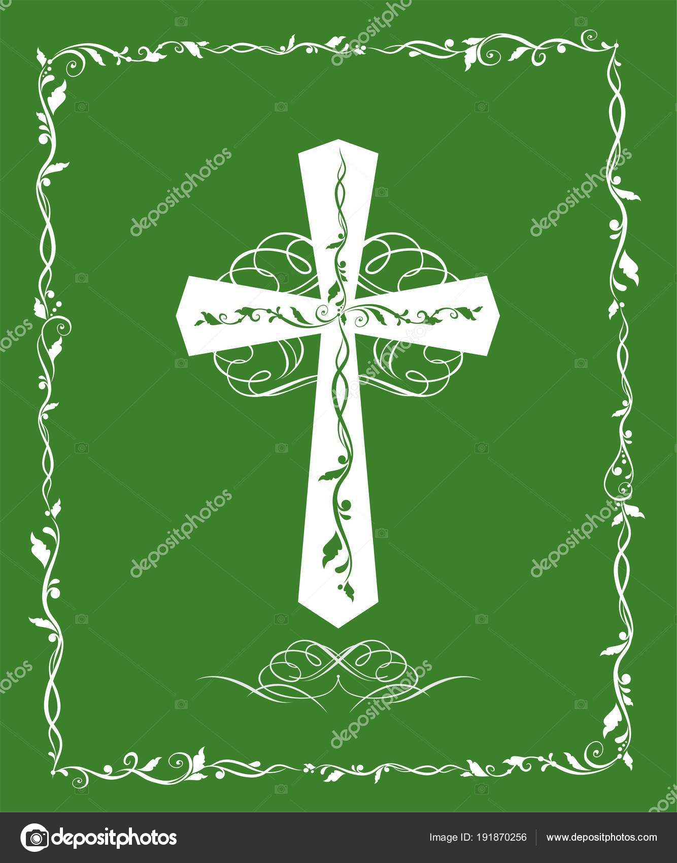 Green greeting card catholic cross baptism easter stock vector green greeting card catholic cross baptism easter stock vector m4hsunfo