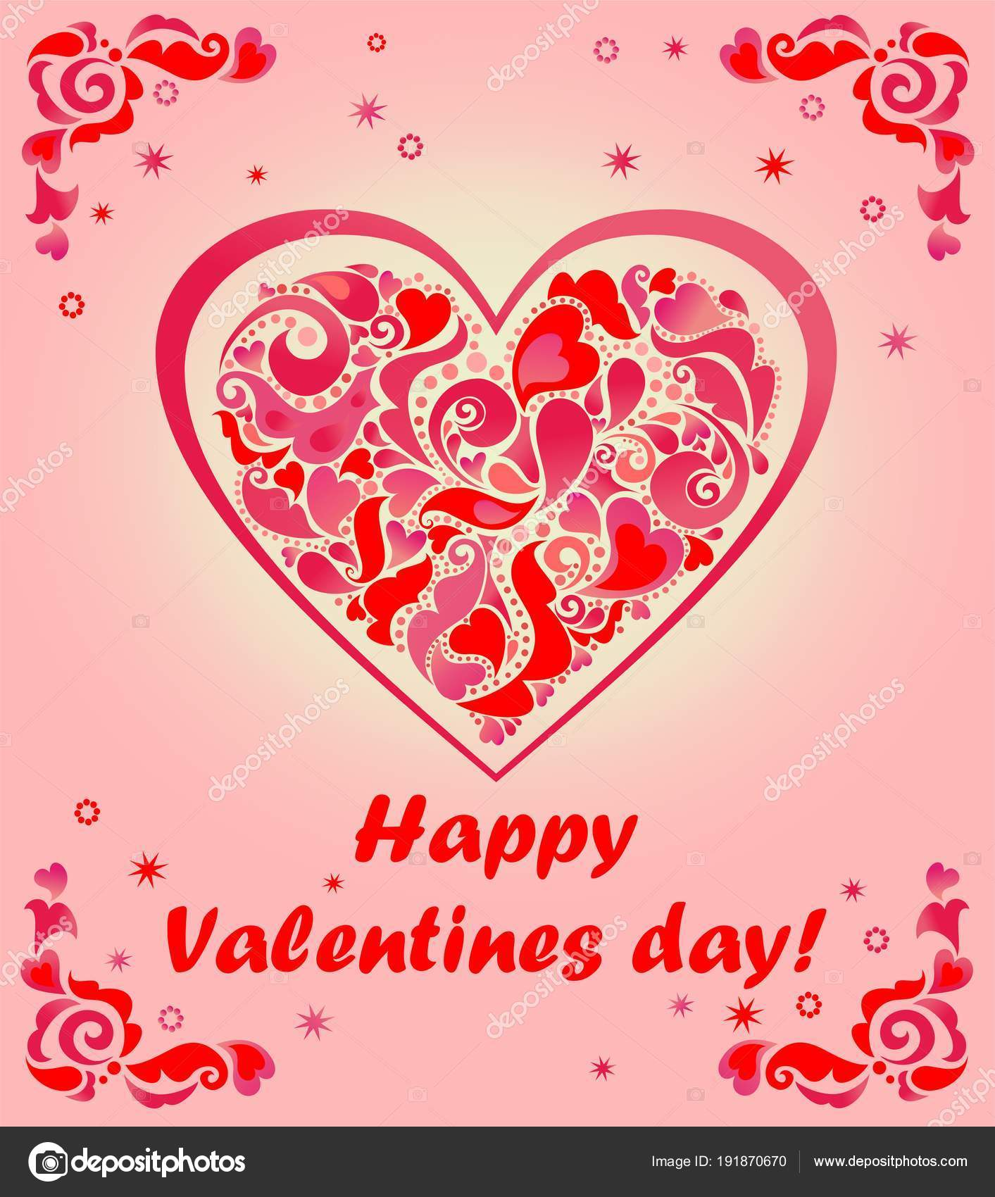 Greeting Card Valentines Day Heart Shape Stock Vector