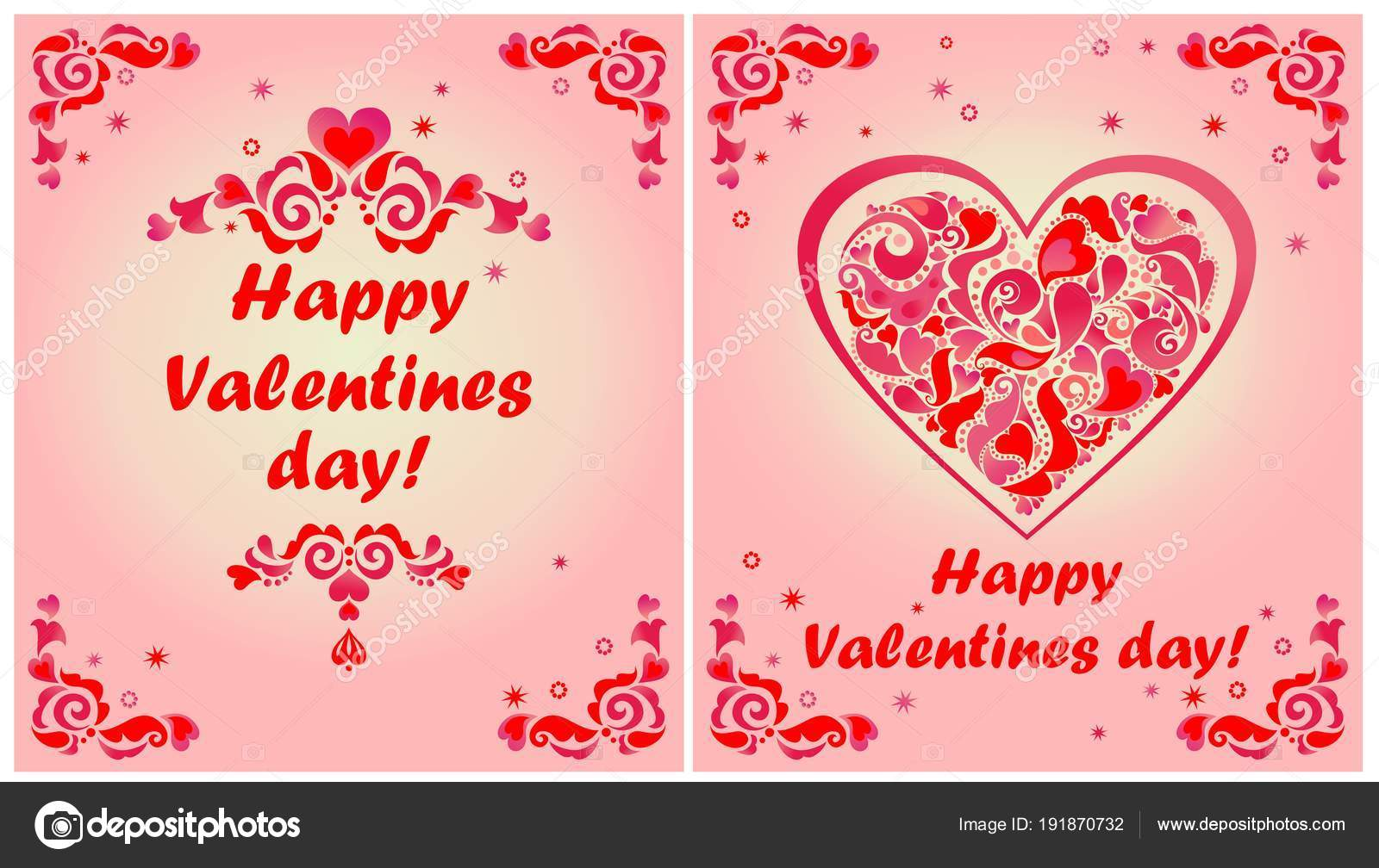 Greeting Cards Valentines Day Red Floral Decorative Borders Heart