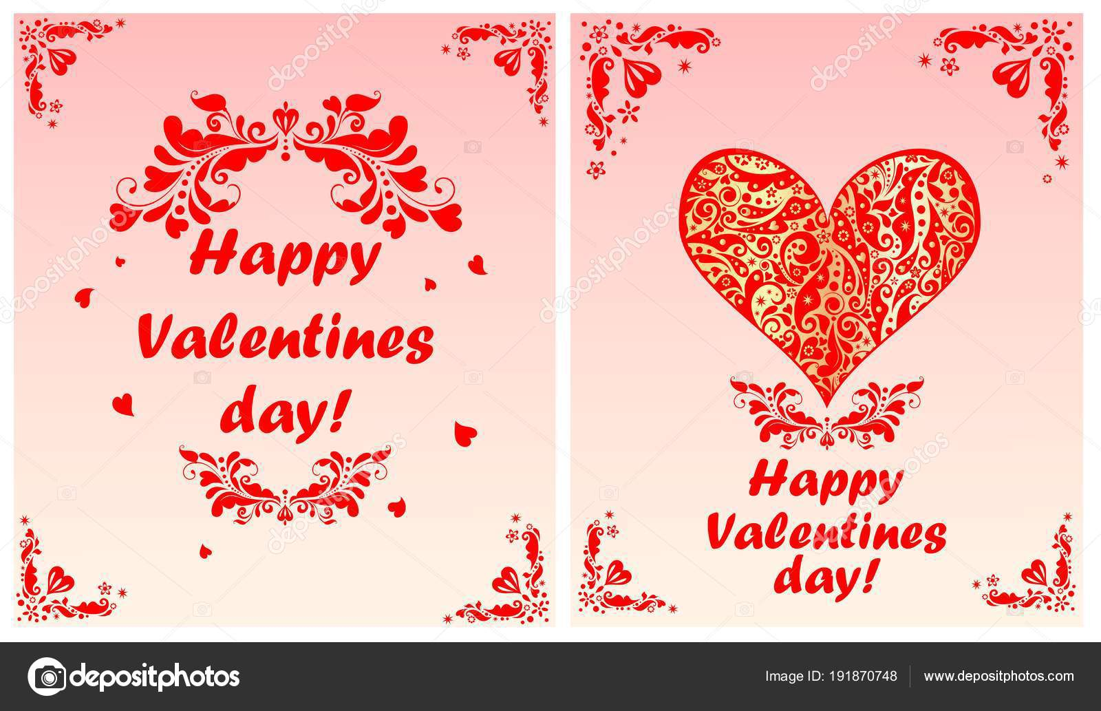 Greeting Cards Valentines Day Red Floral Decorative Header Heart ...
