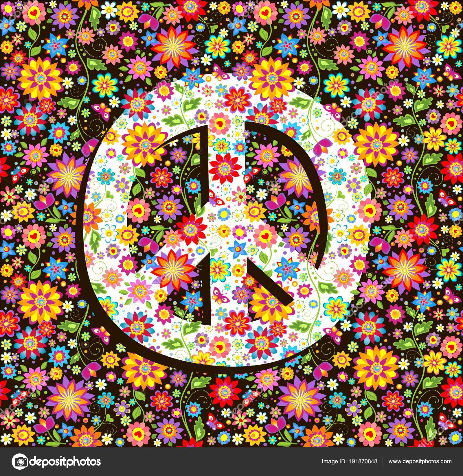 Hippie Wallpaper Flowers Print Peace Symbol — Stock Vector