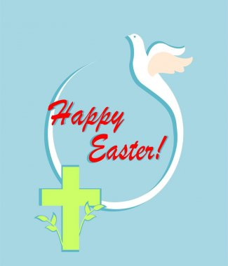Greeting easter abstract card with cut out paper flying dove, egg shape and cross. Flat design