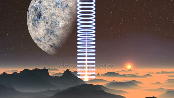 Spiral Light And Sunrise On An Alien Planet