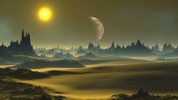 Zlatý západ slunce na cizí planetě