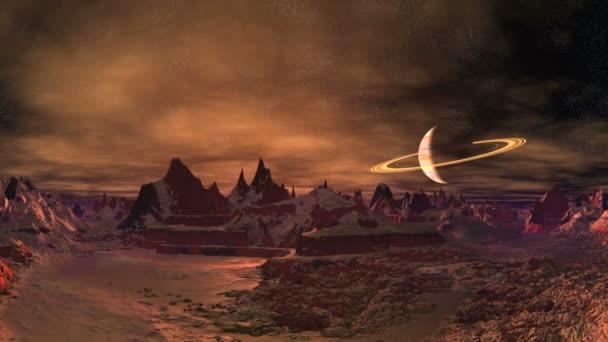 Východ slunce na záhadné mimozemské planetě. Hory a kopce jsou pokryty sněhem. Nad horizontem planety podobné Saturnu. Na temné hvězdnaté obloze se pomalu vznášejí mraky. Zpoza hor vychází jasně oranžové slunce.