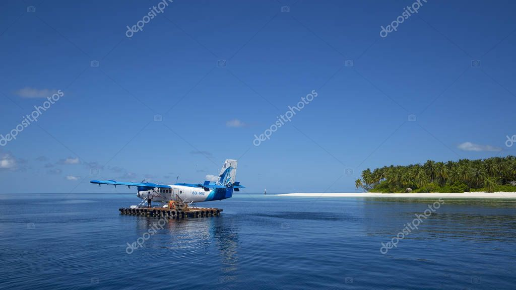 Indian Ocean, Malddives - June 15, 2017: A Maldivian Air Taxi wa