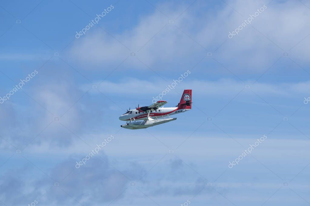 Indian Ocean, Malddives - June 22, 2017: A Maldivian Air Taxi wa
