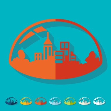 Flat design: domed city