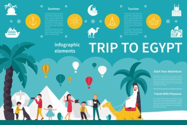Trip To Egypt infographic flat vector illustration. Presentation Concept