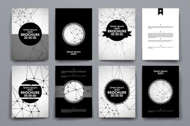 Set of brochure, poster design templates in Molecular structure style
