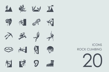 Set of rock climbing icons
