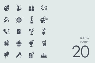 Set of party icons, vector illustration clip art vector