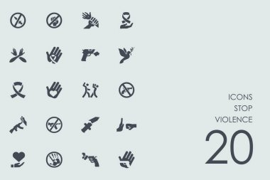 Set of stop violence icons