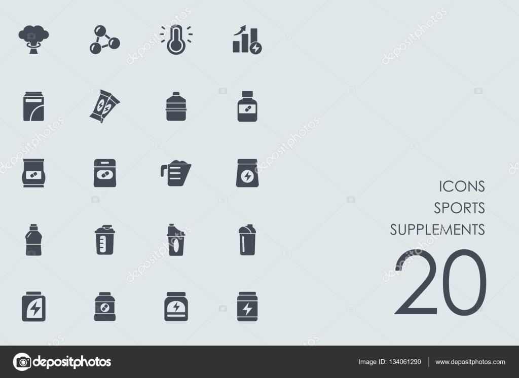 bb02b0517 Conjunto de ícones de esportes suplementos — Vetores de Stock ...