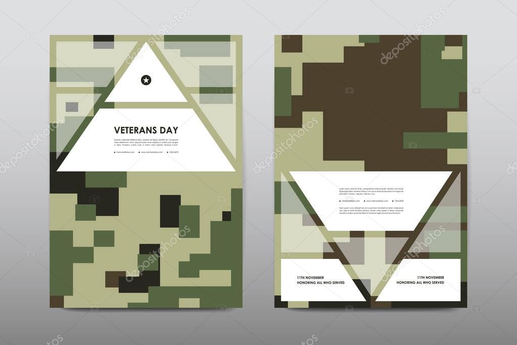 Set of Veterans Day brochure template