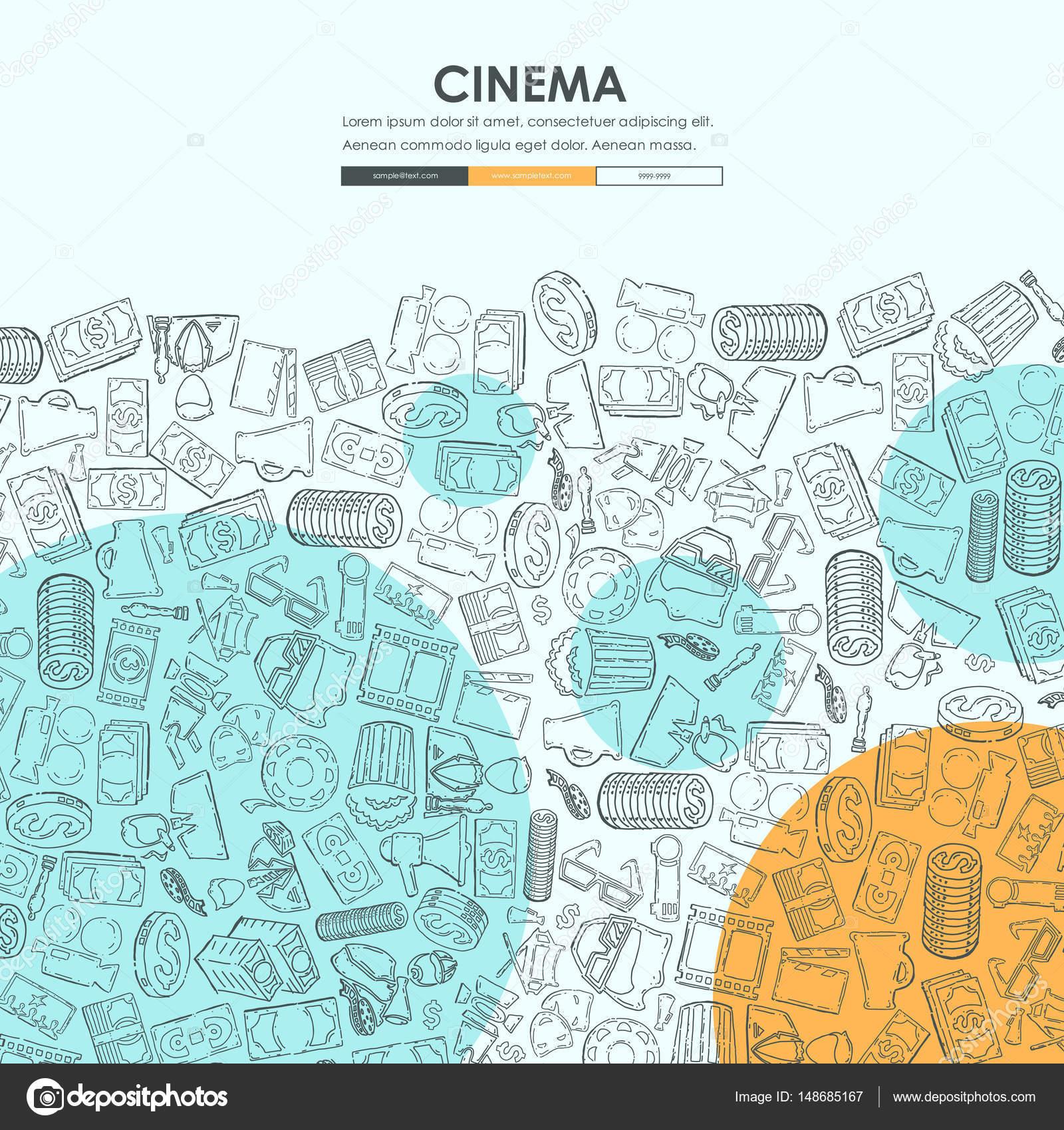 cinema Doodle Website Template — Stock Vector © Palau83 #148685167
