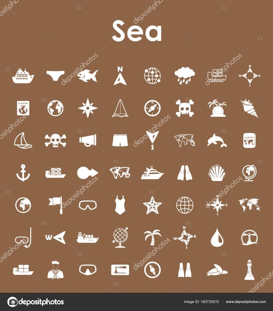 Satz von Meer einfache Symbole — Stockvektor © Palau83 #160733510