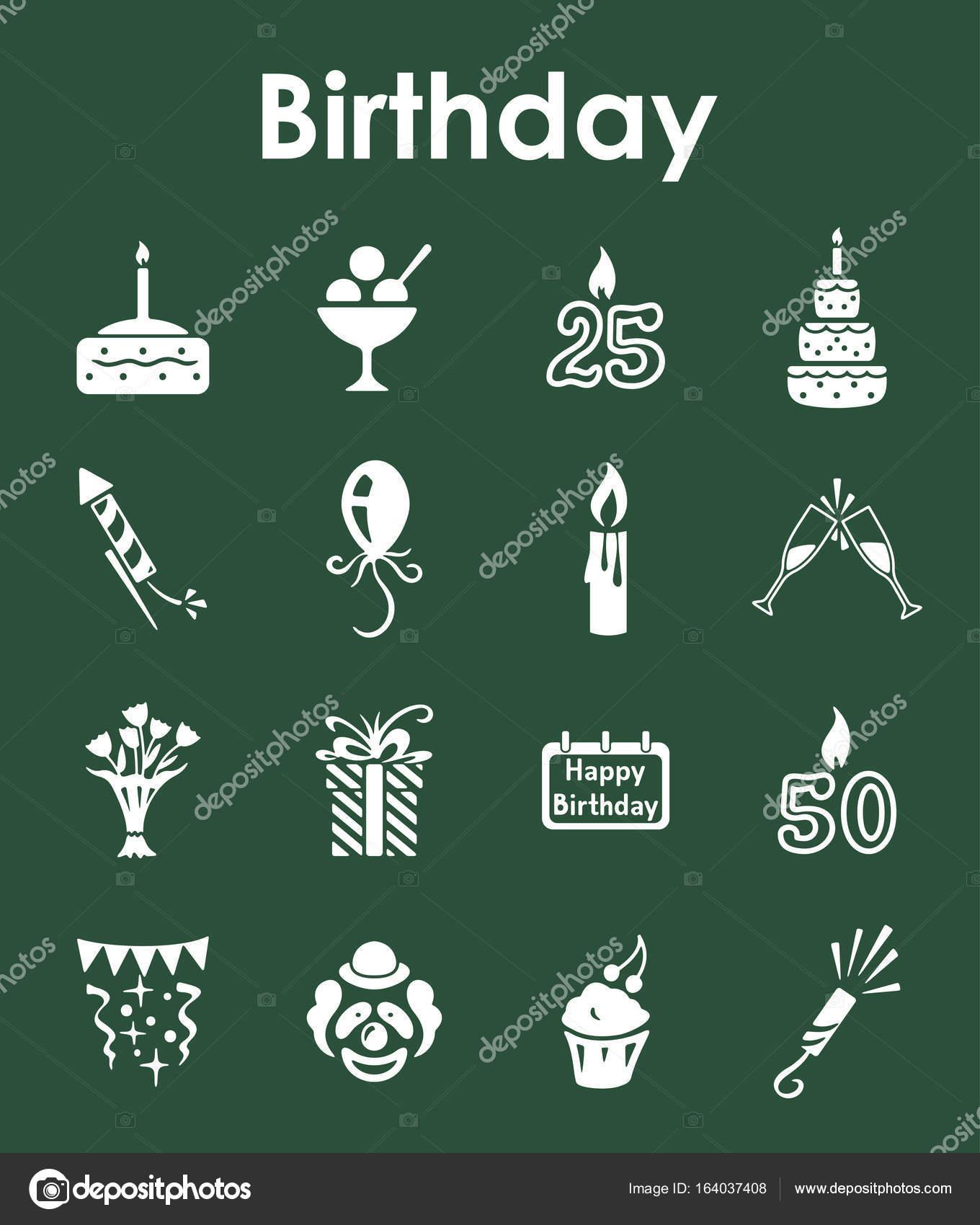 Satz von einfachen Symbole Geburtstag — Stockvektor © Palau83 #164037408