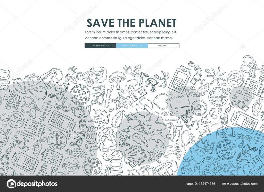 Ecology Doodle Template — Stock Vector © Palau83 #172474386
