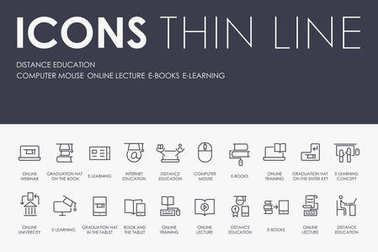 vector illustration design Set of DISTANCE EDUCATION Thin Line Vector Icons and Pictograms